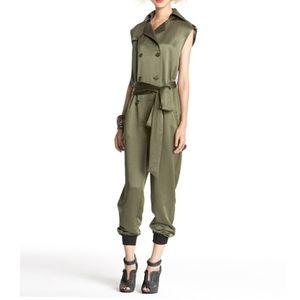 Rachel Roy Green Jumpsuit Romper w/ Belt Size 2